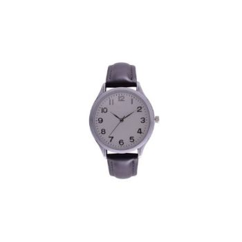 Classic Leatherette Ladies Watch - Silver+Black
